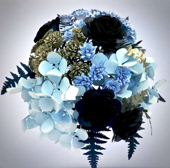 Ready to Ship Paper Flower Bouquet Featuring Flowers and Foliage in Blue and Champagne