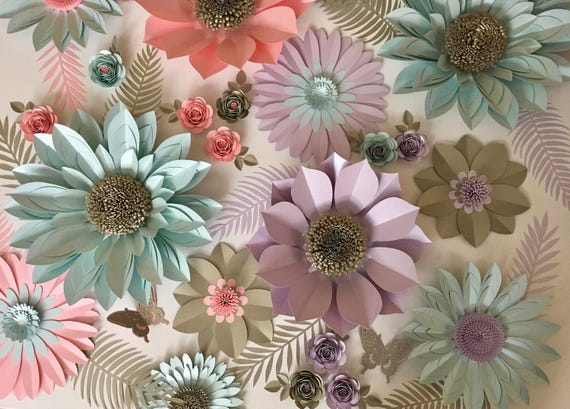 Lavender, Coral, Aquamarine and Gold Giant Paper Flower Backdrop, Wall Decoration, Photography Prop