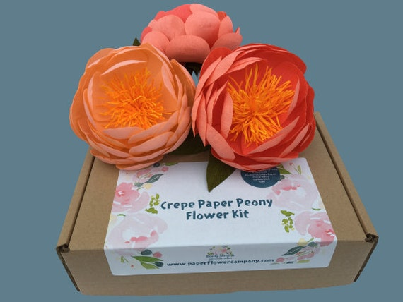 Crepe Paper Peony Craft Kit - lovely gift for Mother's Day