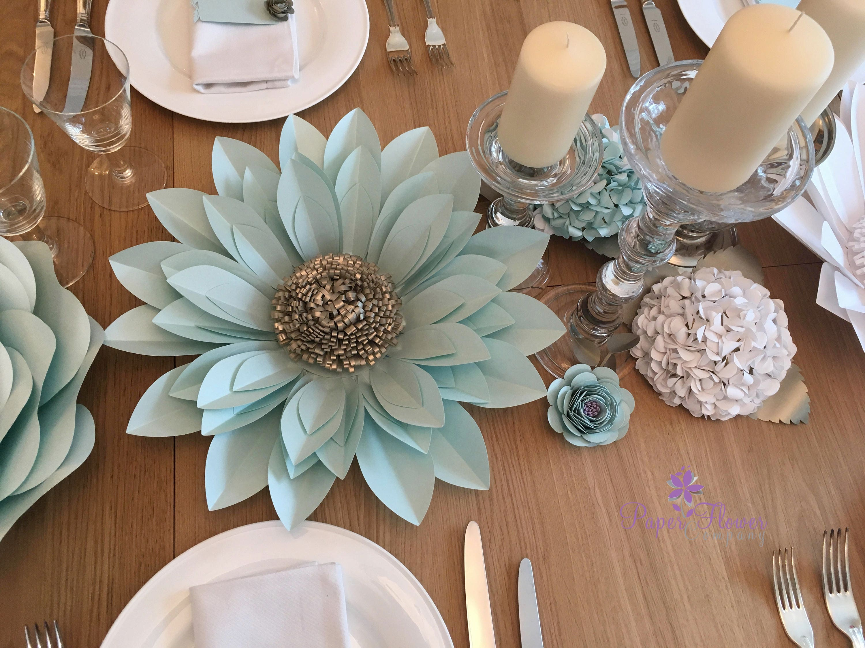 set of 9 elegant paper flower table decorations   includes 2 large dahlia flowers  2 hydrangea