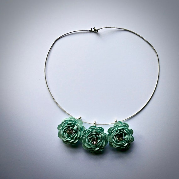 Garden Rose Statement Necklace in 'Aquamarine' Card and Paper