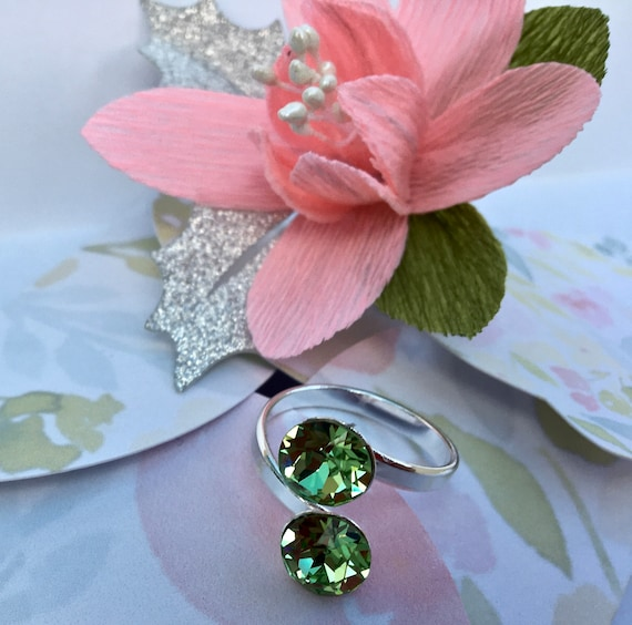 Adjustable Silver Ring with Swarovski Xirius Chaton Peridot Crystals, beautiful handmade gift packaging with crepe paper flower