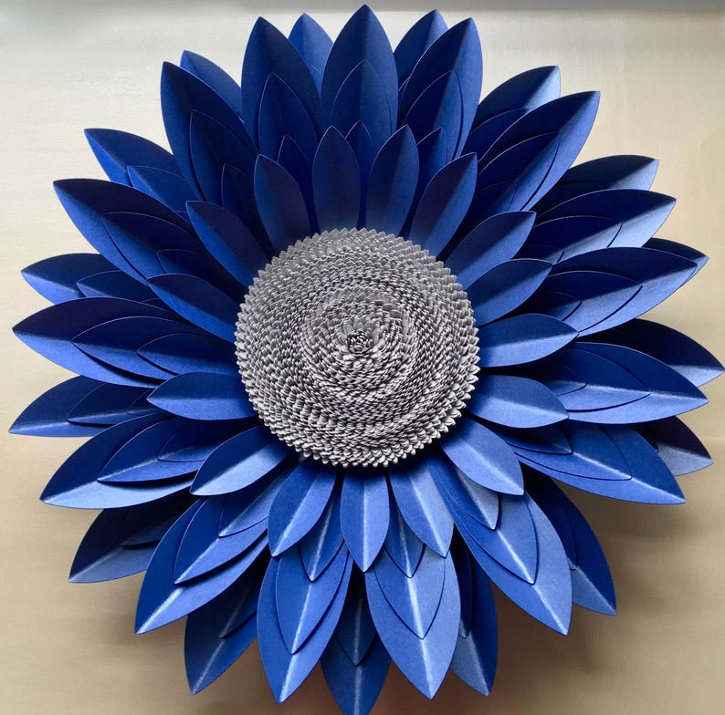 40cm Royal Blue And Silver 3d Paper Flower Wall Decor