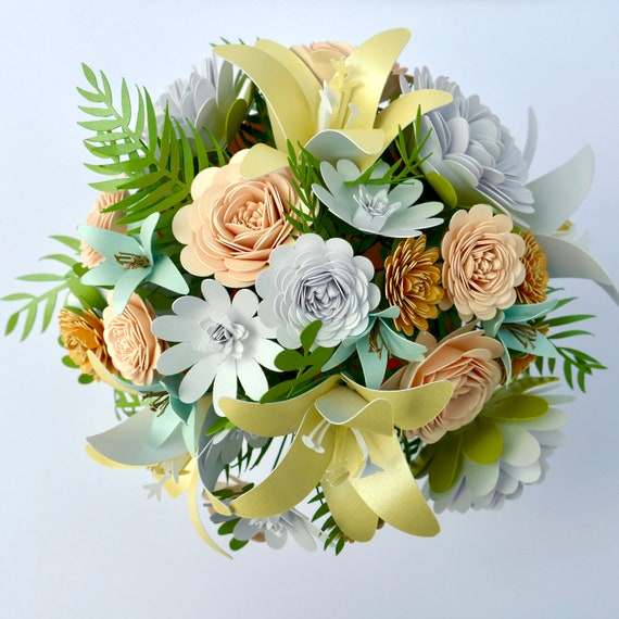 Paper Flower Bouquet Featuring Flowers and Foliage created from the highest quality Italian paper and card Made to Order