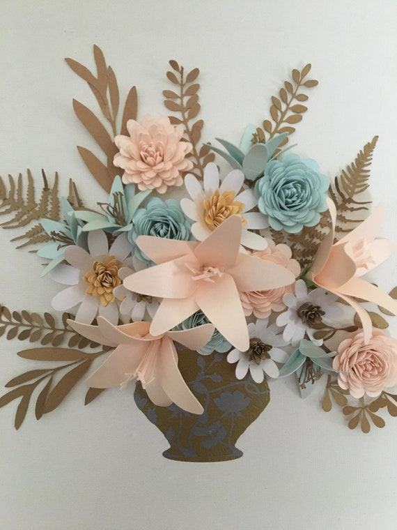 Paper Flower Canvas Featuring Flowers and Foliage created from the highest quality Italian paper and card Made to Order
