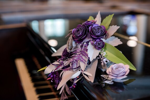 Paper Flower Bouquet Featuring Flowers and Foliage in  Purple, Lilac, Silver and Green