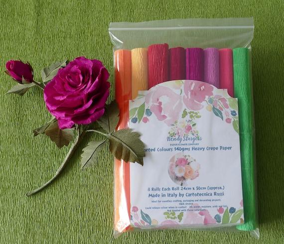 Italian 140gms Heavy Crepe Paper, Assorted Colours.  8 Rolls each approx. 24cm x 50cm