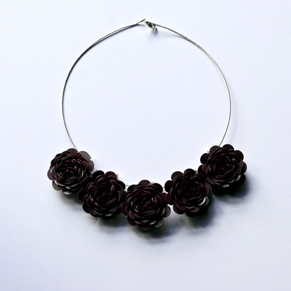 Garden Rose Statement Necklace in 'Ruby'' Card and Paper