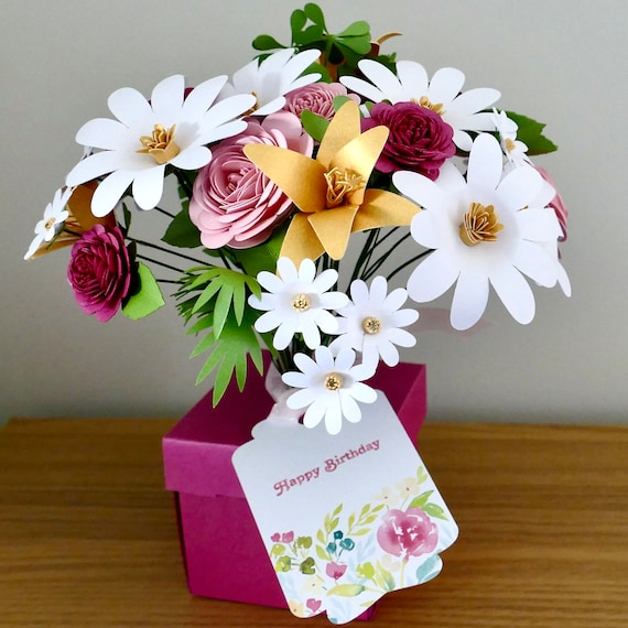 Paper Flower Posy Featuring Flowers and Foliage created from the highest quality Italian paper and card Made to Order
