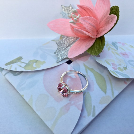 Silver Ring with Swarovski 10mm Aquamarine Flower Crystal, beautiful handmade gift packaging with crepe paper flower