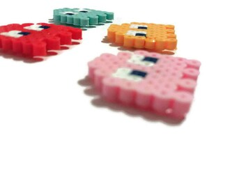 Colorful Ghost magnets, pink, yellow, blue and red, videogame ghosts