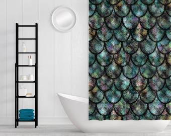 Shower curtain, Mermaid Bathroom, Mermaid Decor, Fish Scale shower curtain, Beach House Decor, Beach Bathroom Decor