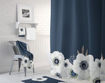 dark blue shower curtain. Navy Blue Shower Curtain Floral Shower Curtain  Bathroom Decor Mat Peony Curtains Etsy