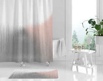 Shower Curtain Bath Abstract Powder Room Decor Bathroom Pink Blush Grey White