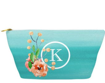 """Personalized Make Up Bag, Cosmetic Case, Carrying Pouch, Accessory Pouch 12.5""""x8.5"""" or 8.5""""x6"""" Floral watercolor, Teal Ombre"""