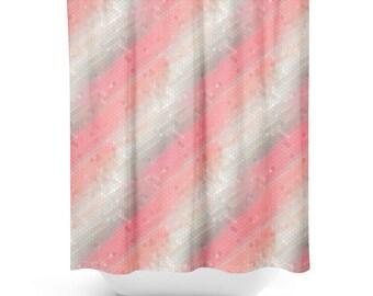 Pink Shower Curtain Bathroom Decor Pretty Bath