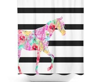 Horse Shower Curtain, Bathroom Decor, Bath Curtain, , Girly Shower Curtain, Floral, Black and white