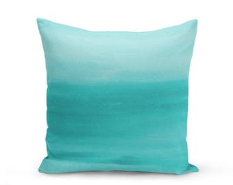 "Teal Throw Pillow Cover, Decorative Pillow, Cushion Cover, Home Decor, Ombre Teal Decor, Lumbar, Euro Sham 16"" 18"" 20"" 26"""
