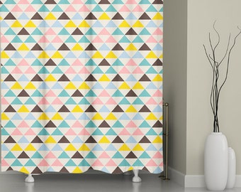 Geometric Shower Curtain,  bathroom Decor, ,  Bath Curtain