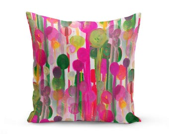 Colorful Pillow Cover, Decorative Throw Pillow, Fuchsia Green, As Seen in HGTV magazine