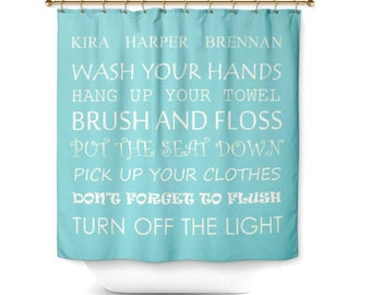 Kids Shower Curtain Bathroom Decor Rules 71x74 Choose Your Color Personalized With Names