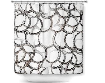 "Abstract Shower Curtain, Black White Grey Taupe, Bathroom Decor, Bath Curtain, Home Decor, 71""x74"""