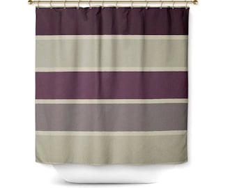 Striped Shower Curtain Bath Grey Beige Plum Muted Purple Home Decor Bathroom 71x74