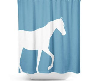 Horse Shower Curtain  Bathroom Accessories Home Decor Bath Curtain  Stone Blue White Shower curtain Horse Lover Gift