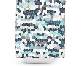 Mosaic Shower Curtain Geometric Bath Teal Grey Navy Blue