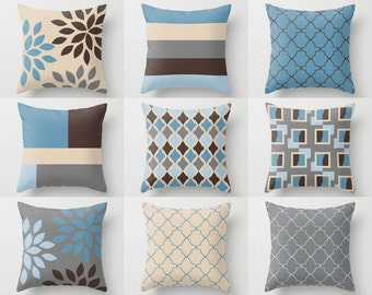 Throw Pillow Covers Accent Pillow Cover Decorative Pillow Covers Geometric  Pillow Covers Home Decor Chocolate Brown Stone Grey Light Blue 3e3ae2363