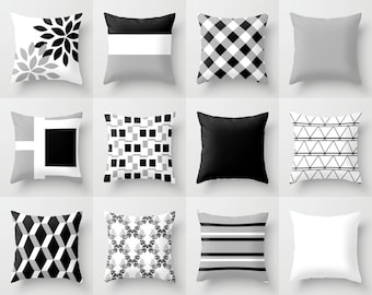 Throw Pillow Cover Black White Grey Couch Cushion Cover Contemporary Home  Decor Living Room Pillow Decorative Pillow Covers