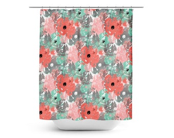 Shower Curtain Floral Bath Coral Lucite Green Grey Blush White