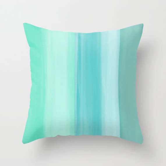Abstract Throw Pillow Cover Mint Teal Aqua Turquoise Modern Home Decor  Living room bedroom accessories Cushion Decorative Pillow Cover