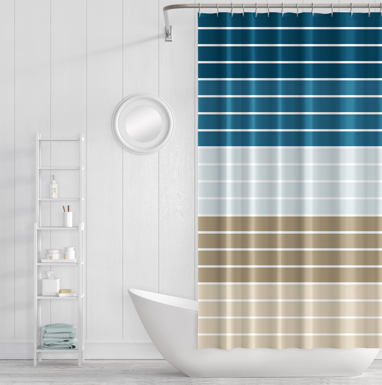 Shower Curtain Striped Bath Curtain Navy Blue Taupe Brown Beige