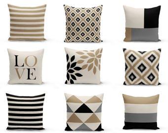 Outdoor Pillows, Taupe Black Beige Grey, Outdoor Home Decor, Outdoor Throw Pillows