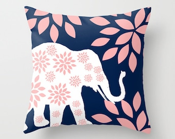 Nursery Pillow Cover Navy Pillow Cover Blush Pillow Cover Nursery Decor Elephant Pillow Cover Accent Pillow Cover Decorative Pillow Cover