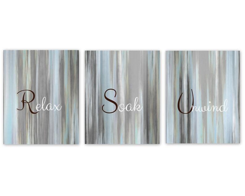 Bathroom Wall Art Relax Soak Unwind Abstract Prints Set Of 3 Etsy