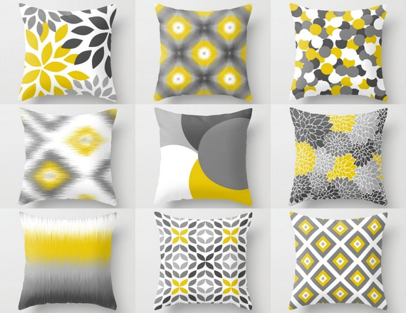 Peachy Throw Pillow Covers Yellow Grey White Couch Cushion Covers Home Decor Living Room Pillow Throw Pillow Covers Decorative Pillows Andrewgaddart Wooden Chair Designs For Living Room Andrewgaddartcom