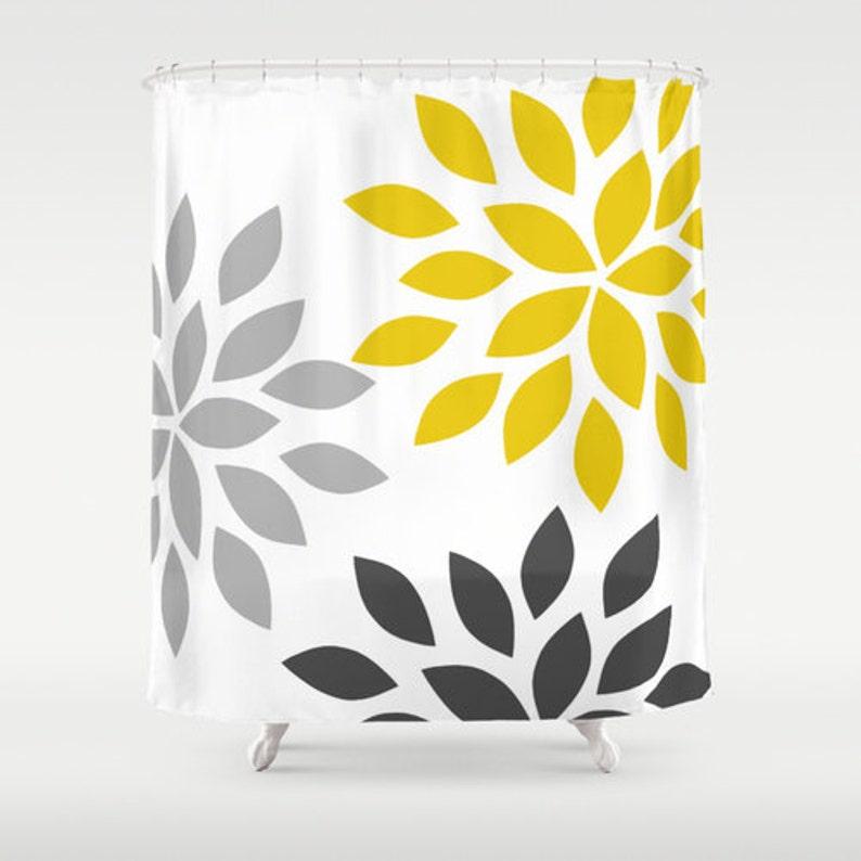 Dahlia Shower Curtain Grey Mustard White Art Bathroom Accessories Home Decor Bat