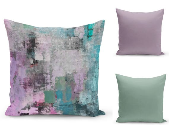 Pillow Covers Purple Teal Green Black Home Decor Accent Etsy Stunning Purple And Green Decorative Pillows