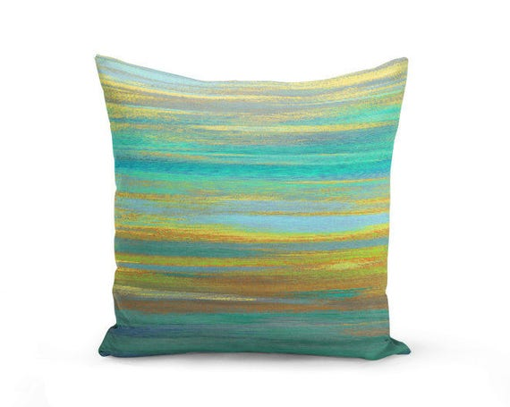 Outdoor Pillow Patio Throw Pillows Teal And Yellow Pillow Etsy