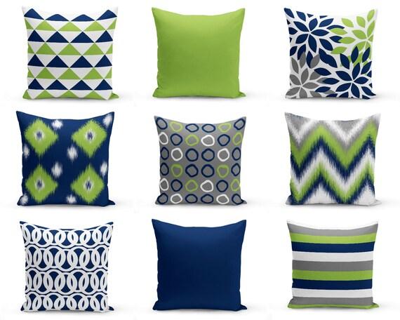 Outdoor Pillows Navy Pear Green White Grey Outdoor Home Etsy