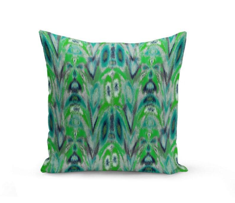 Outdoor Throw Pillow Teal Green Navy Grey Outdoor Pillow Etsy