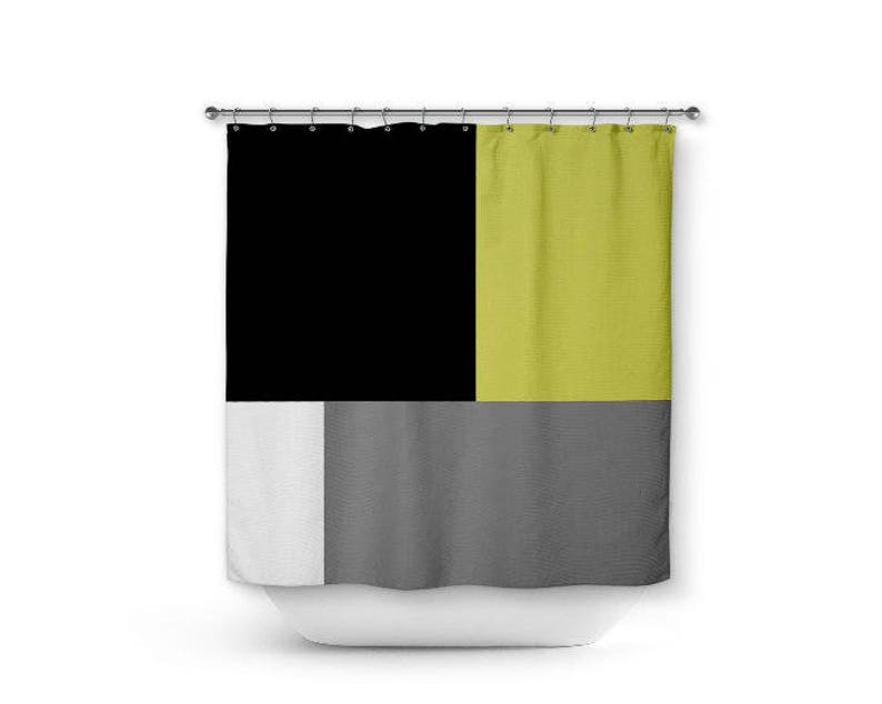 Color Block Shower Curtain Grey White Black Chartreuse Green