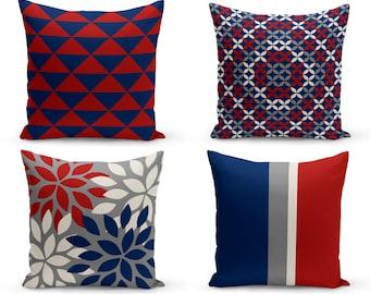 Outdoor Pillows, Grey Red Navy Off white,  Outdoor Home Decor, Outdoor Throw Pillows
