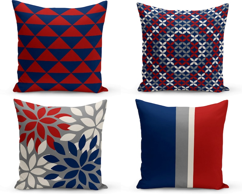 Outdoor Pillows Grey Red Navy Off White Outdoor Home Decor Etsy