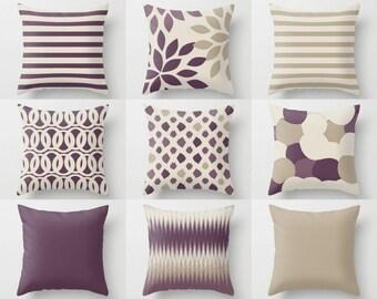 Outdoor Pillows, Purple Grape Beige Pillows, Outdoor Home Decor, Outdoor Throw Pillows