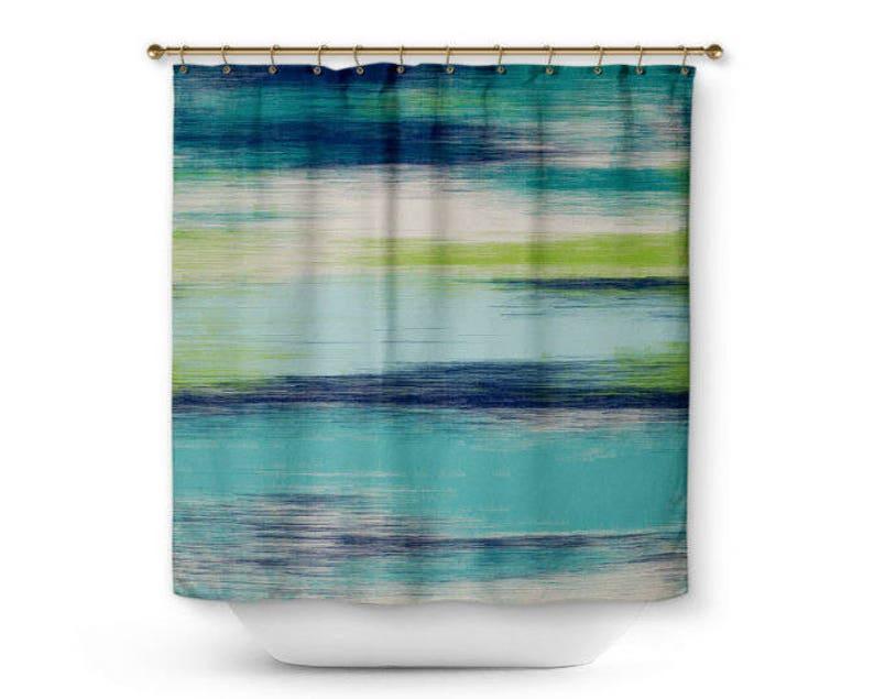 Bagni Moderni Verde Acqua : Astratto doccia tenda verde acqua marina verde crema bagno etsy