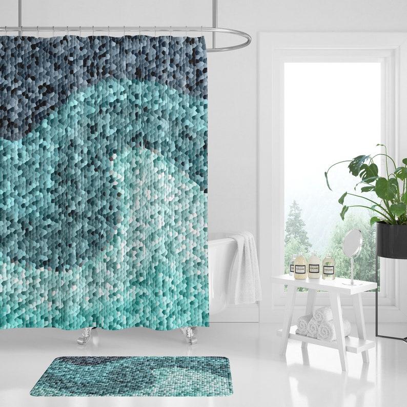 Vorhang, Bad Vorhang, Mosaik Dusche Vorhang, Powder Room Decor, Badezimmer  Dekor, Bad Dekor blaugrün, Petrol / Dusche Duschvorhang, Petrol / Bad