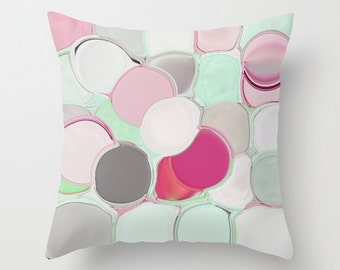 Abstract Throw Pillow Cover Abstract Mint Pink Fuchsia Green Grey White Modern Home Decor Living room bedroom accessories Cushion